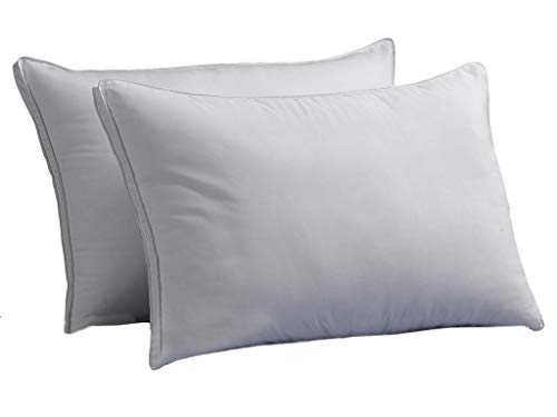 Firm Exquisite Hotel Luxury Plush Down-Alternative Pillows 2-Pack, Standard Size, Gel-Fiber Filled, Hypoallergenic, Peachy Firm Microfiber Gusseted Shell - Firm Density, Ideal for Side/Back Sleepers