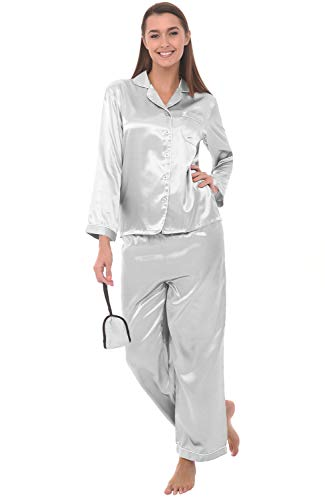 Alexander Del Rossa Womens Satin Pajamas, Long Button-Down Pj Set and Mask, Large Light Grey with Cream Piping ()