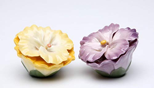 (Fine Porcelain Hand Painted Yellow & Purple Colorful Pansy Flowers Salt & Pepper Shakers Set, 2-3/4