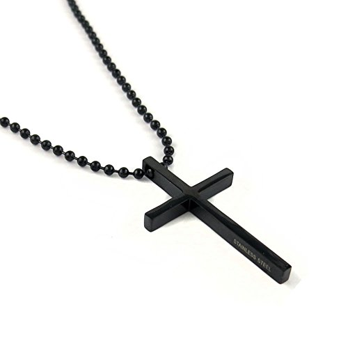 Yeidid International Stainless Steel Black Cross Pendant Chain Necklace for Men Women, 24 inches