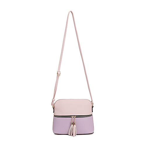Pocket Bag Tassel Lavender Medium Blush SUGU Lightweight Strap SG Crossbody Adjustable Zipper with Dome wXzqB0a1