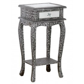 DOWNTON INTERIORS Distressed Antique Style Moroccan Glass Embossed Black Silver Grey Bedside Side End Plant Table (TCHK-4325-304) ** Full Range of Matching BALI FURNITURE is Available**