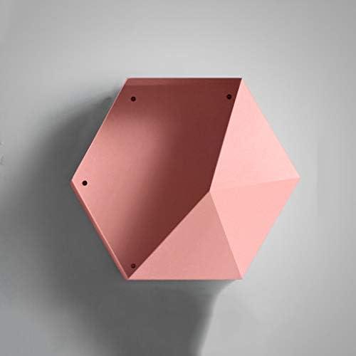 陳列棚は 壁掛け棚六角壁掛けメタル花瓶収納ディスプレイスタンド防水デザインとバッフル付き落下防止のアイテム DSJSP (Color : Pink)