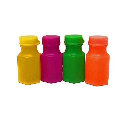 Blue Green Novelty Neon bubbles bottles, bubbles for kids, mini bubble bottles, bubble bottles wholesale, bubble bottles bulk, Wands Connected to The Caps. Small Carnival Prizes for Kids Bulk, Great Summer Party Favors, Birthday Parties Supplies, Pack of 48 -