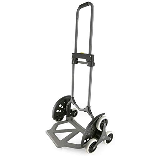 Portable Trolley, Climb The Stairs Luggage Cart Hand Truck Steel Shopping Cart Mute Trolley Folding Van Pull Portable Small Six-wheeled Cart Black Load 30 To 70 Kg (Color : GRAY) ( Color : Gray ) by Zehaer (Image #6)