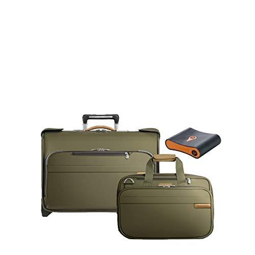 Briggs & Riley Baseline 3-Pc Set- C/O Wheeled Garment Bag, Exp Cabin Bag, Portmantos Tracking Device ()