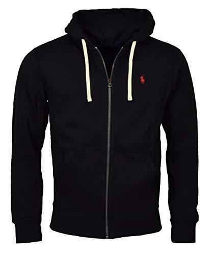 Polo Ralph Lauren Classic Full-Zip Fleece Hooded Sweatshirt - XL - Black Red Pony