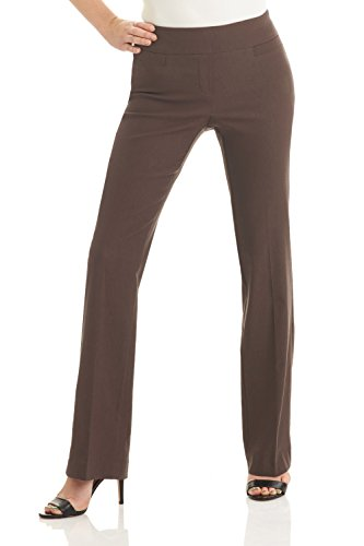 Rekucci Women's Ease in to Comfort Boot Cut Pant (12,Mocha) (Best Pants To Wear Hiking)