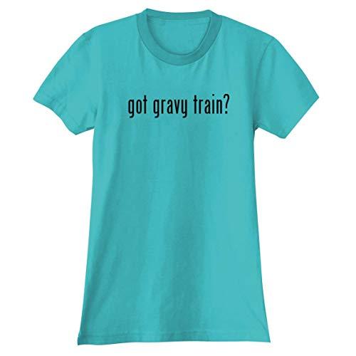 - The Town Butler got Gravy Train? - A Soft & Comfortable Women's Junior Cut T-Shirt, Aqua, Small