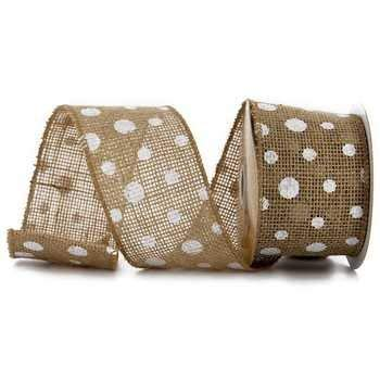Burlap Polka Dot Ribbon with White Dots 2.5In - 3 Yards Wired