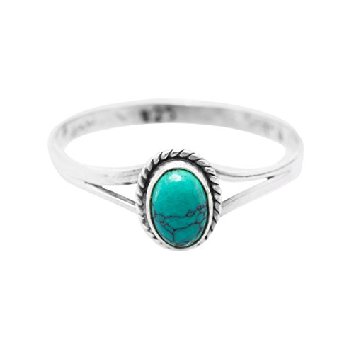 Synthetic Turquoise Vintage Look Ring 925 Sterling Silver US Size 5 6 7 8 9 (6)