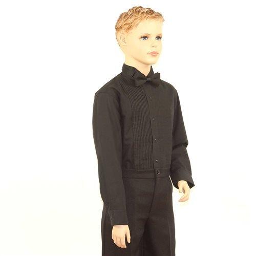 SixStarUniforms Boys Black Tuxedo Shirt with Wing Tip Collar - Medium/Neck(12-12.5) by SixStarUniforms (Image #3)