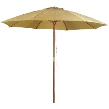 Exceptional 9u0027 Taupe Patio Umbrella   Outdoor Wooden Market Umbrella Product SKU:  UB58024