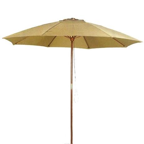 9u0027 Taupe Patio Umbrella   Outdoor Wooden Market Umbrella Product SKU:  UB58024