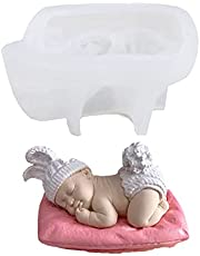 ZIIVARD Silicone Sleeping Baby Mold 3D Fondant Chocolate Cake Decorating Mold Baby Shower Handmade Soap Candle Resin Polymer Plaster Mould-7.5x5.4x4.0cm