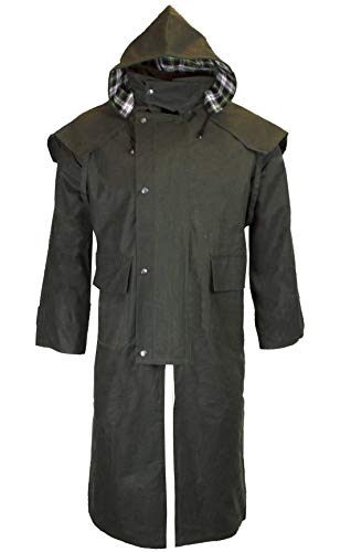 Walker & Hawkes - Unisex Waxed Long Cape Stockman Hooded Coat - Olive - XL (Tartan Hooded Down Coat)