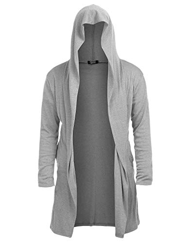 (Mens Open Front Long Sleeve Sweater Draped Lightweight Longline Hooded Cardigan with Pockets )