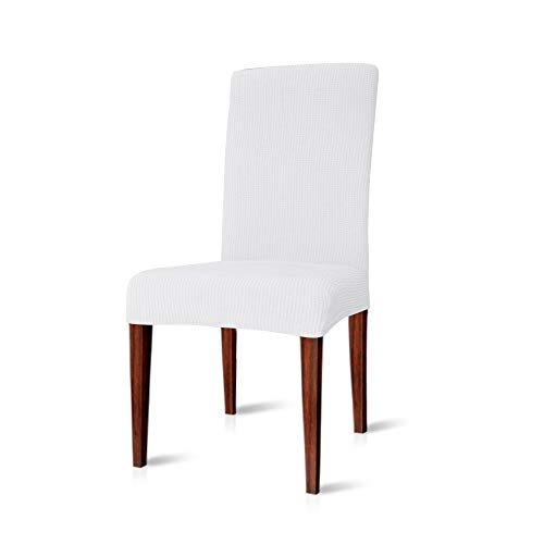 CHUN YI Dining Chair Covers Stretch Jacquard Polyester Spandex Anti-Stain Washable Dining Room Parsons Chair Slipcovers (2pcs, White)