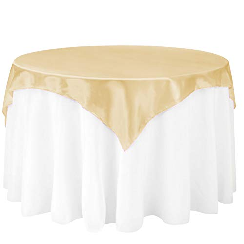 (LinenTablecloth 60-Inch Square Satin Overlay Gold)