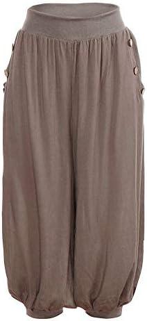 Leyben Womens Pants Ladies Summer Shorts Loose Baggy Sport Harem Capris Wide Leg Elastic Waist Boho Check Yoga Pants (XX-Large Blue)