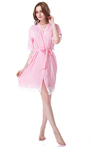 Juntian Womens Lace Cotton Robes Bridesmaid and Bride Wedding and Bridal Party Robes Short Sleeves Robes