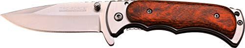 TAC Force TF-934WD Spring Assist Folding Knife, Satin Silver Straight Edge Blade, Pakkawood Handle, 4-Inch Closed