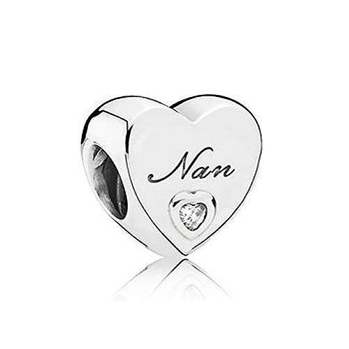 Romántico Amor Heart Love Nana Charm Grandma Family Silver Clear CZ Bead fit Pandora Bracelets