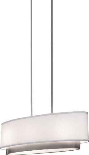 Artcraft Lighting Scandia Oval Chandelier, Brushed Nickel with White Linen Shade