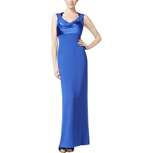 Calvin Klein Womens Satin Trim Drapey Evening Dress Blue 8 (Satin Dress Klein Calvin)