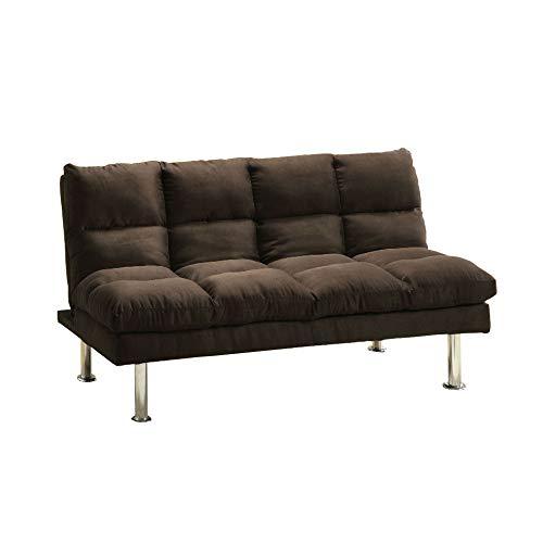 (Benzara BM131159 Contemporary Micro-Fiber Sofa Futon, Expresso, Espresso)