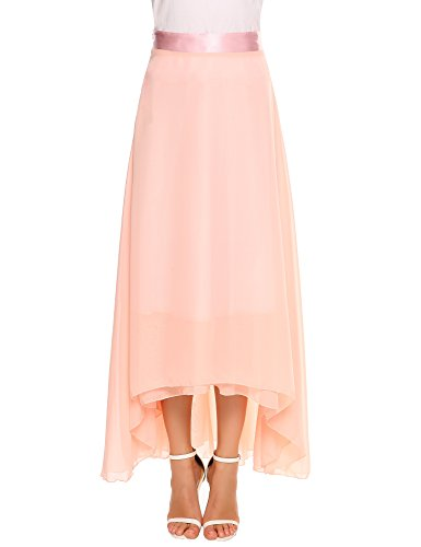 Chigant Women Chiffon Maxi Skirt Satin Waisted Beach Long Skirt,Pink,Medium