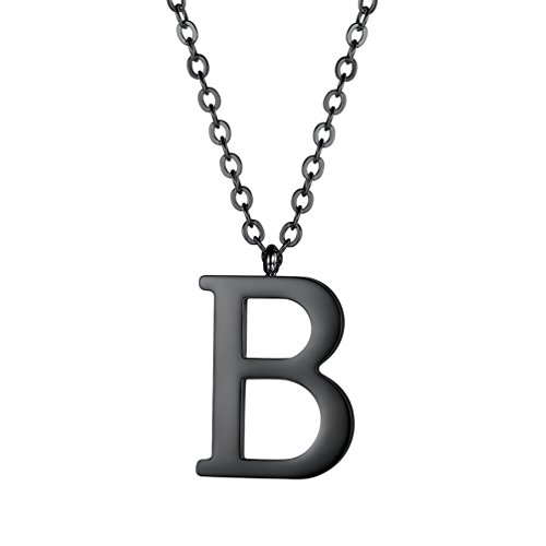 - PROSTEEL Initial Letter B Black Necklace Alphabet Name Jewelry Men Women Personalized Friendship Birthday Gift Minimalist Letter Pendant Necklaces