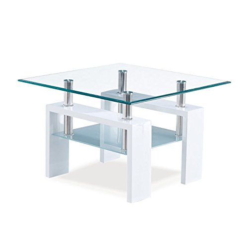 Charmant Amazon.com: Global Furniture Clear/Frosted Occasional End Table With Glossy  White Legs: Kitchen U0026 Dining