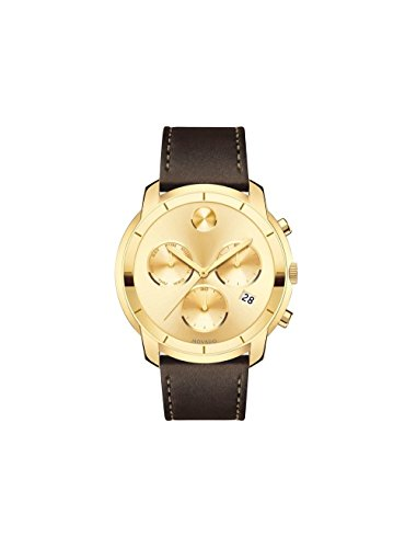 Movado Bold Gold Sunray Dial Mens Chronograph Leather Watch 3600477