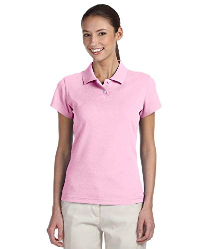 (adidas Golf Womens Climalite Tour Pique Short-Sleeve Polo (A85) -Pale Pink/ -L)