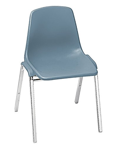 National Public Seat Poly Shell Stack Chair Fabric Color: Slate Blue, Frame Color: Chrome electronic consumers ()