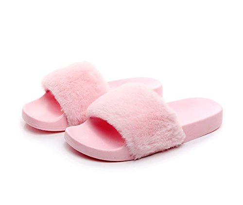 Light Pink Slides - Women's Flip Flop Faux Fuzzy Fur Slide Slip On Flat Sandal Shoe Slipper Light Pink 7-7.5 B(M) US