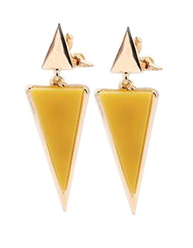 (CNCbetter Women Fashion Jewelry Yellow Triangle Colorful Charms U Shaped Back On Clip Earring)