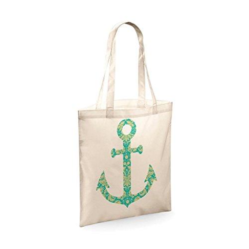 Tote Bag für Damen W Anchor aus Baumwolle mit Slogan Print Shoppe Schultertasche Canvas Tasche