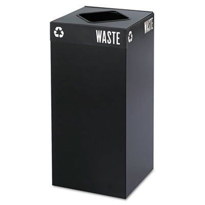 Public Square Recycling Container, Square, Steel, 31 gal, Black