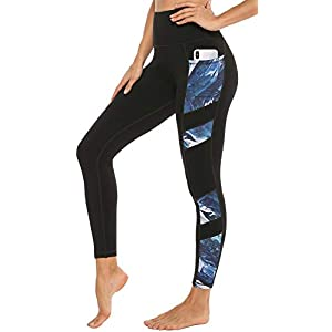 PERSIT Women's Printed Yoga Pants with 2 Pockets, High Waist Non See-Through Tummy Control 4 Way Stretch Leggings