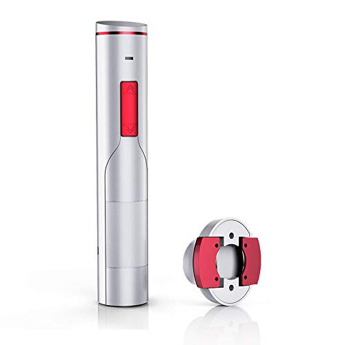 iTronics 700 Electric Wine Opener Rechargeable Cordless Corkscrew Wine Bottle Opener with Removeable Foil Cutter, Elegant White