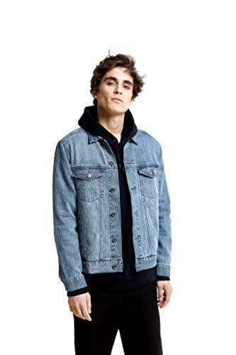 Hoodlamb Classic Stretch Mens Denim Blue Jean Jacket with Pockets - Hemp/Organic Cotton Blend (Large)