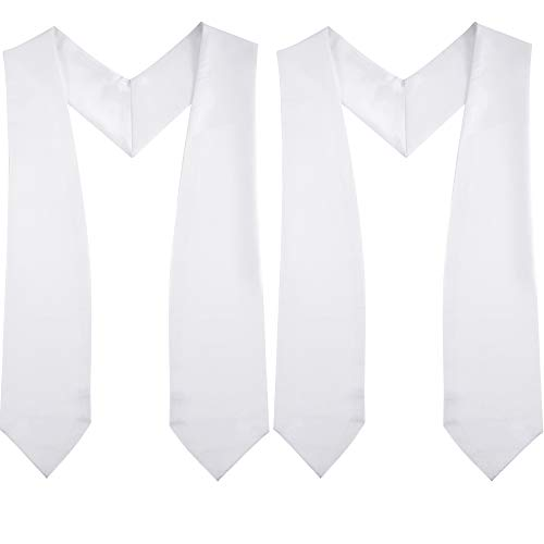 2 Pieces Plain Graduation Stoles for Unisex Adult 60 Inches (white) -
