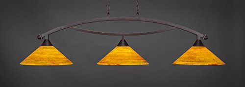 (Toltec Lighting 873-DG-414 Bow - Three Light Billiard, Dark Granite Finish with Firre Saturn Glass)