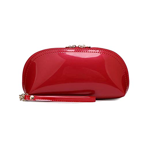 (Women Patent Leather Strap Clutch Purses Bags Wallets Cellphone Pouches Solid Color (red) )