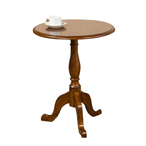 (Vintage Style Three-Legged End Table Round Living Room Bedroom Balcony Corner Table Brown)