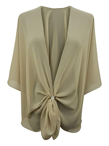 - eXcaped Women's Evening Shawl Wrap Sheer Chiffon Open Front Cape and Silver Scarf Ring (Sand)