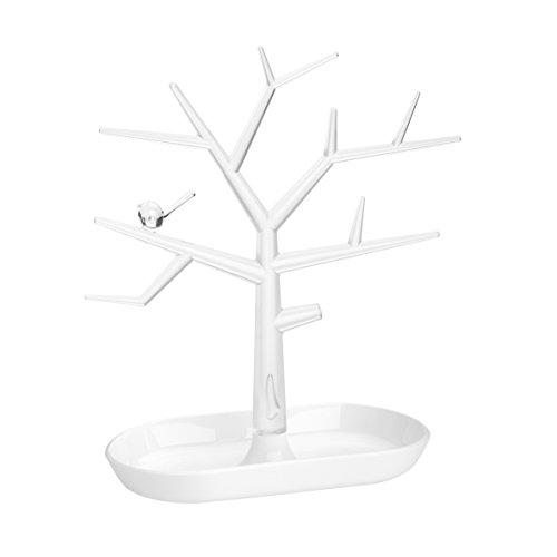 koziol Schmuckbaum [pi:p] M, Kunststoff, weiß mit transparent klar, 12,8 x 27,3 x 30,6 cm