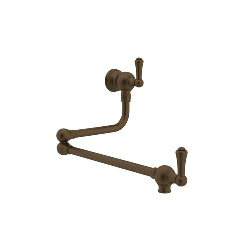 Rohl U.4799LS-EB-2 Perrin and Rowe Wall Mounted Swing Arm Pot Filler with Metal Lever Handles, English Bronze by Rohl